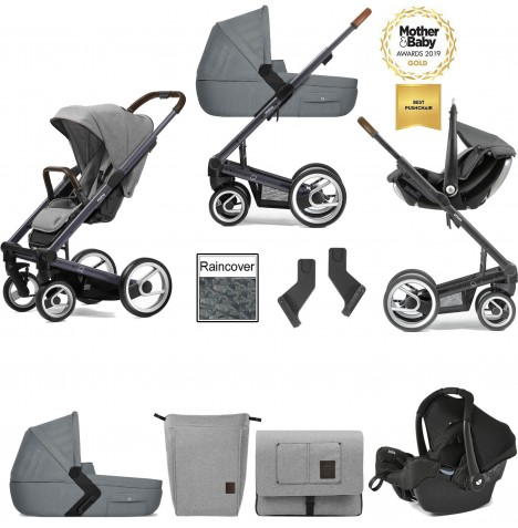 Mutsy I2 Farmer (Dark Grey Chassis) Travel System (Gemm) With Carrycot & Accessories - Mist / Concrete