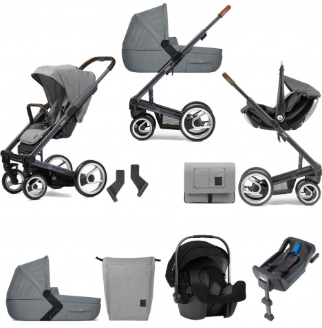 Mutsy I2 Farmer (Dark Grey Chassis) Travel System (Pipa Icon) With Isofix Base, Carrycot & Accessories - Mist / Concrete