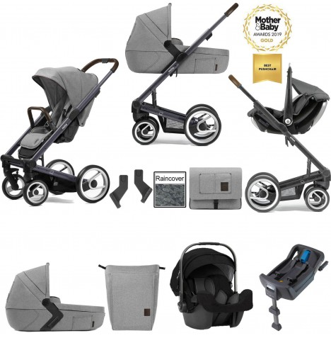 Mutsy I2 Farmer (Dark Grey Chassis) Travel System (Pipa Icon) With Isofix Base, Carrycot & Accessories - Mist