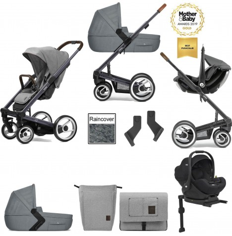 Mutsy I2 Farmer (Dark Grey Chassis) Travel System (i-Level) With Isofix Base, Carrycot & Accessories - Mist / Concrete