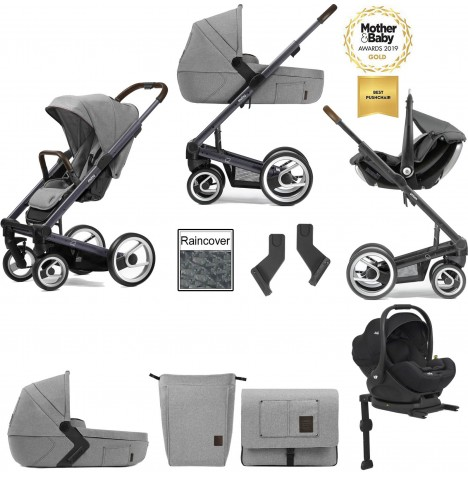 Mutsy I2 Farmer (Dark Grey Chassis) Travel System (i-Level) With Isofix Base, Carrycot & Accessories - Mist