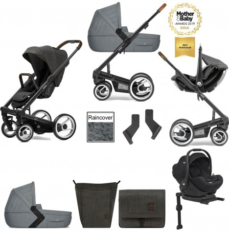Mutsy I2 Farmer (Black Chassis) Travel System (i-Level) With Isofix Base, Carrycot & Accessories - Forest / Concrete