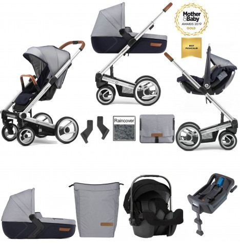 Mutsy I2 Urban Nomad (Silver Chassis) Travel System (Pipa Icon) With Isofix Base, Carrycot & Accessories - White Blue