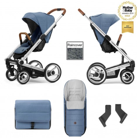 Mutsy I2 Heritage (Silver Chassis) Pushchair With Accessories - Heritage Blue