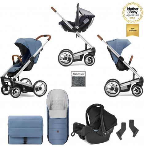 Mutsy I2 Heritage (Silver Chassis) Travel System (Gemm) With Accessories - Heritage Blue