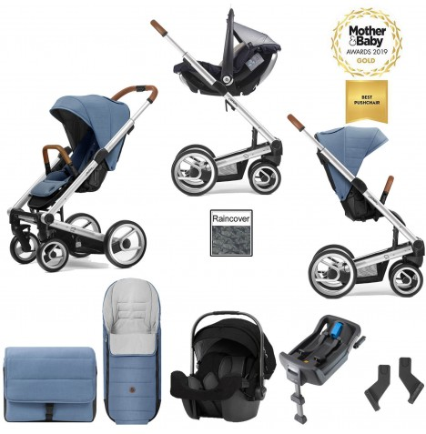 Mutsy I2 Heritage (Silver Chassis) Travel System (Pipa Icon) With Isofix Base & Accessories - Heritage Blue