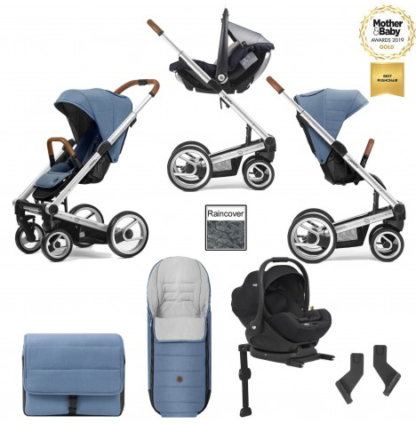 Mutsy I2 Heritage (Silver Chassis) Travel System (i-Level) With Isofix Base & Accessories - Heritage Blue