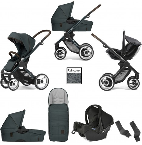 Mutsy Evo Farmer (Green Blue Chassis) Travel System (Gemm) With Carrycot & Accessories - Emerald Green