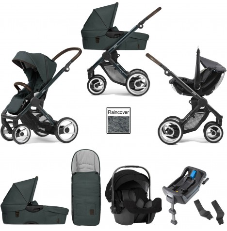 Mutsy Evo Farmer (Green Blue Chassis) Travel System (Pipa Icon) With Isofix Base, Carrycot & Accessories - Emerald Green