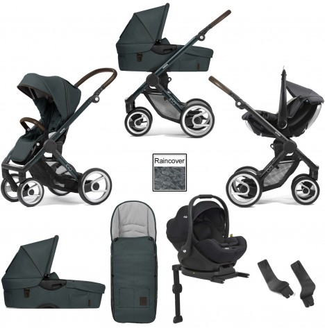 Mutsy Evo Farmer (Green Blue Chassis) Travel System (i-Level) With Isofix Base, Carrycot & Accessories - Emerald Green