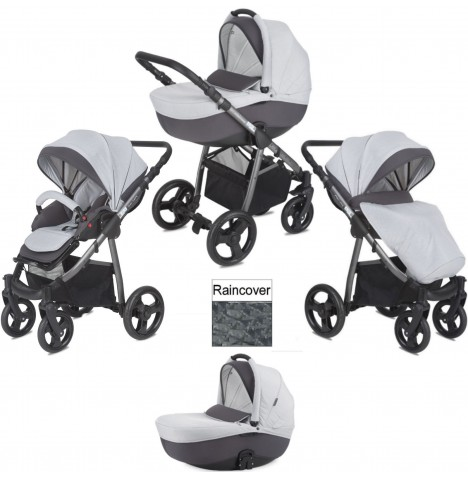 Mini Uno Stride 3 In 1 Pram / Pushchair - Grey Melange