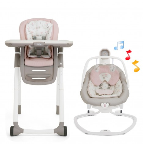 Joie All You Need Multiply Highchair & Serina Swing / Rocker Starter Bundle - Forever Flowers