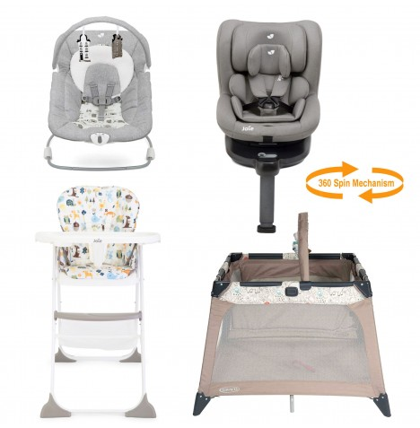 Joie All You Need I-Spin Car Seat Starter Bundle - Grey Flannel