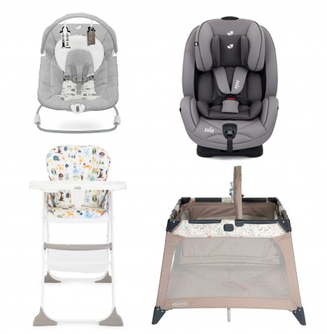 Joie All You Need Stages Car Seat Starter Bundle - Grey Flannel
