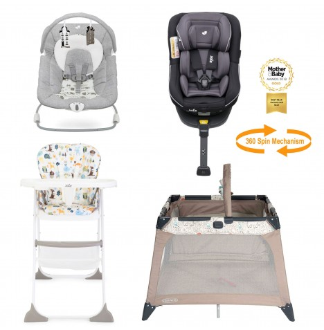 Joie All You Need Spin Car Seat Starter Bundle - Two Tone Black