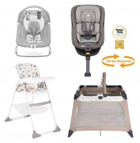 Joie All You Need Spin Car Seat Starter Bundle - Dark Pewter