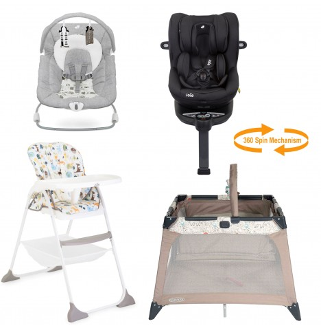Joie All You Need I-Spin Car Seat Starter Bundle - Coal