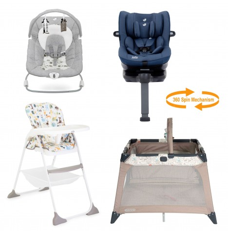 Joie All You Need I-Spin Car Seat Starter Bundle - Deep Sea