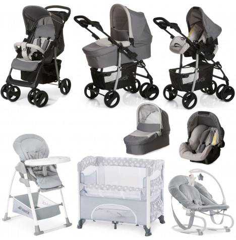 Hauck Shopper SLX 6 Piece Everything You Need Trio Set Travel System Bundle - Stone Grey / Stretch Grey