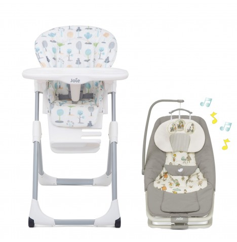 Joie All You Need Highchair & Swing / Rocker Starter Bundle - Pastel Forest / In The Rain