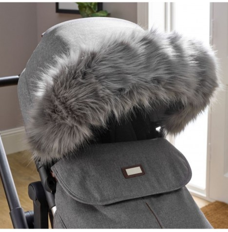 Clair De Lune Universal Pushchair / Stroller Faux Fur Hood Trim - Grey