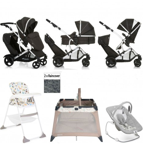 Hauck Duett 2 Everything You Need Tandem Pushchair Bundle - Black