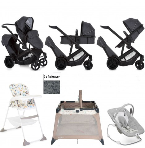 Hauck Duett 3 Everything You Need Tandem Pushchair Bundle - Melange Charcoal