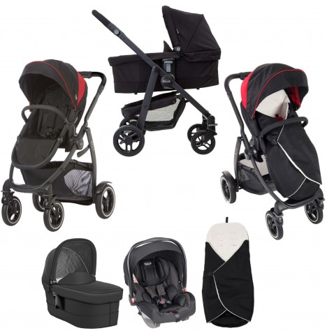 Graco Evo XT (Snugride) Travel System & Carrycot - Black / Red