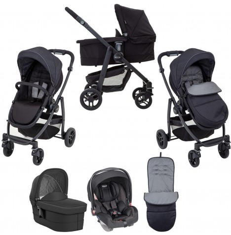 Graco Evo (Snugride) Travel System & Carrycot - Black / Grey