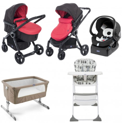Chicco Urban Plus / Pocket Meal Everything You Need Travel System Bundle - Red Passion