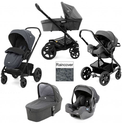 Joie Chrome DLX (i-Gemm) Travel System + Carrycot (inc Footmuff) - Pavement...