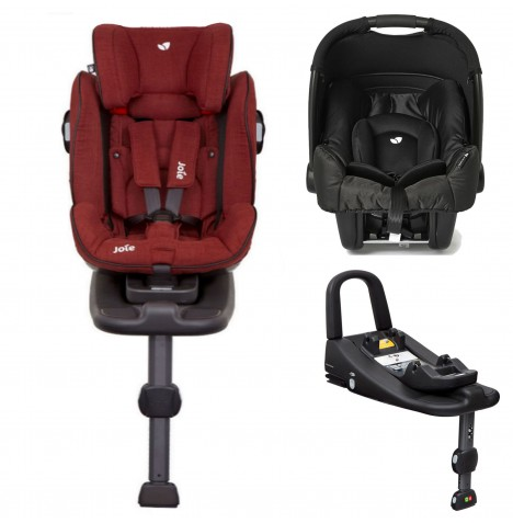 Joie Stages Isofix Car Seat with Base + Gemm Car Seat Bundle - Cranberry / Black