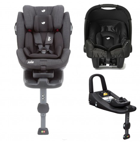 Joie Stages Isofix Car Seat with Base + Gemm Car Seat Bundle - Pavement / Black