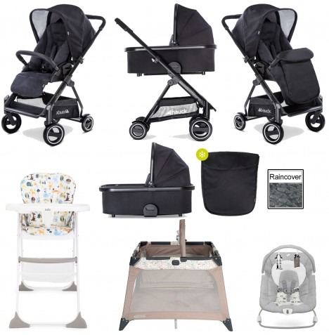 Hauck Apollo Pushchair, Carrycot, Travel Cot, Bouncer & High Chair Bundle - Caviar
