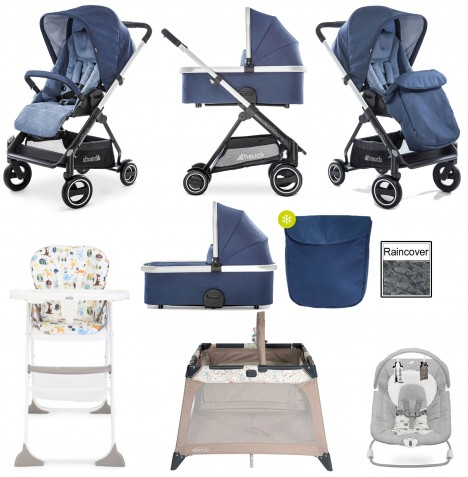 Hauck Apollo Everything You Need Pushchair & Carrycot Bundle - Denim