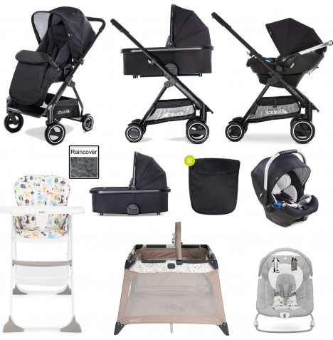 Hauck Apollo Everything You Need Travel System & Carrycot Bundle - Caviar