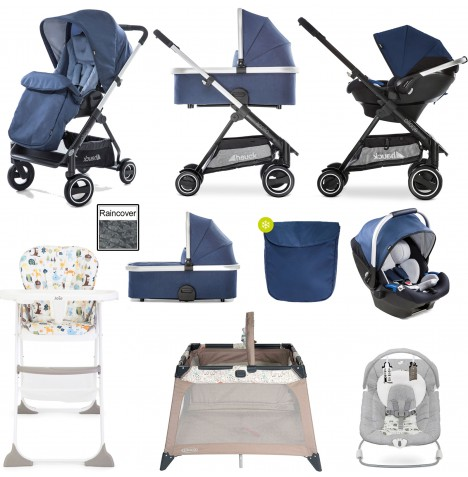 Hauck Apollo Everything You Need Travel System & Carrycot Bundle - Denim