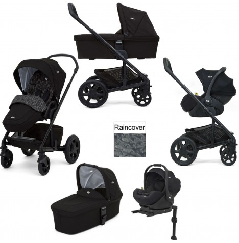 Joie Chrome DLX (i-Level) Travel System With Carrycot (inc Footmuff & ISOFIX Base) - Dots Black