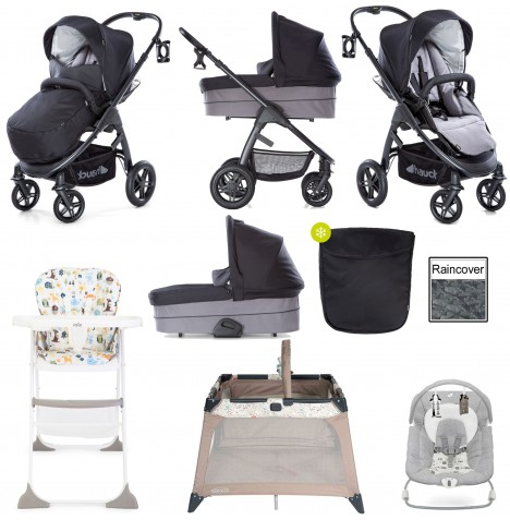 Hauck Saturn R Everything You Need Pushchair & Carrycot Bundle - Caviar / Stone