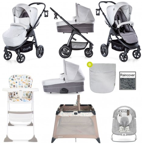 Hauck Saturn R Everything You Need Pushchair & Carrycot Bundle - Lunar / Stone