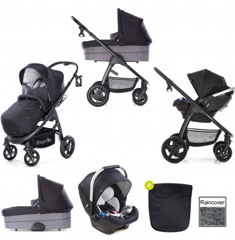 Hauck Saturn R Travel System & Carrycot - Caviar / Stone