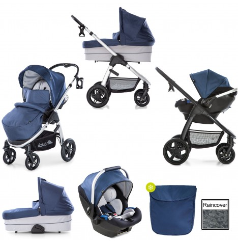 Hauck Saturn R Travel System & Carrycot - Denim / Silver