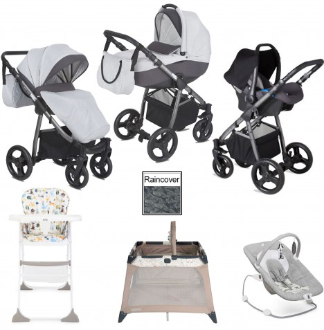 Joie / Mini Uno Stride Everything You Need Travel System Bundle - Grey Melange..