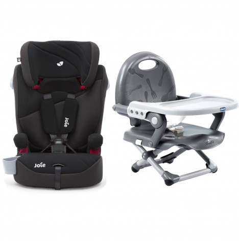 Joie Elevate 2.0 Group 123 Car Seat + Chicco Pocket Snack Booster Seat Bundle - Two Tone Black / Dark Grey