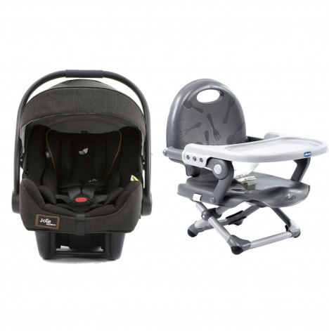Joie Limited Edition i-Gemm 0+ Car Seat + Chicco Pocket Snack Portable Highchair Booster Seat Bundle - Signature Noir / Dark Grey
