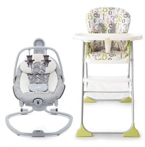 Joie Serina 2in1 Swing / Rocker + Mimzy Snacker Highchair - Abstract Arrows / 123