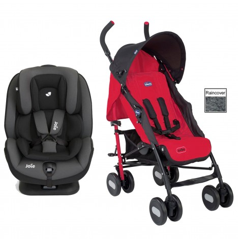 Joie Stages FX Car Seat + Chicco Echo Stroller Bundle - Ember / Garnet Red