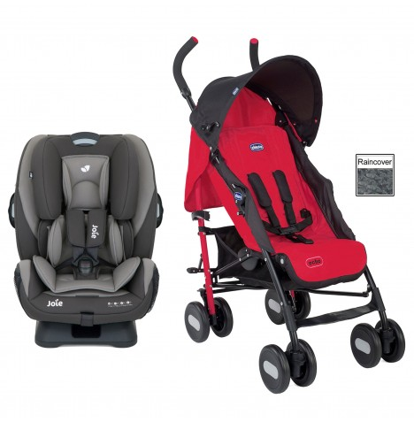 Joie Every Stage Car Seat + Chicco Echo Stroller Bundle - Ember / Garnet Red