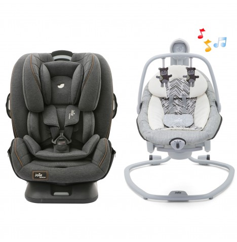 Joie Every Stage FX Car Seat + Serina Swing / Rocker Bundle - Signature Noir / Abstract Arrows