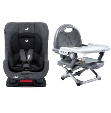 Joie Tilt Car Seat + Chicco Pocket Snack Booster Seat Bundle - Pavement / Dark Grey
